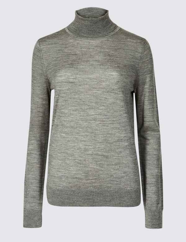 5c0ad51c229 Pure Merino Wool Roll Neck Jumper