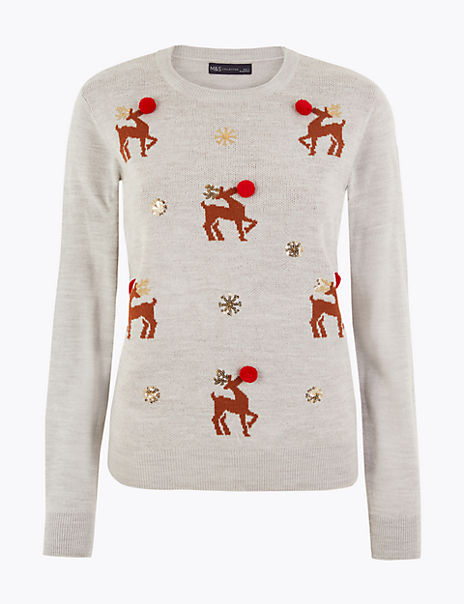 Reindeer Embellished Christmas Jumper