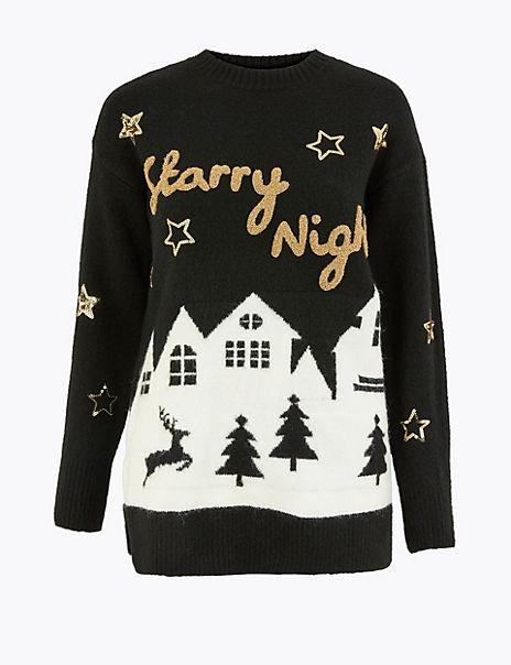 Novelty Starry Night Christmas Jumper