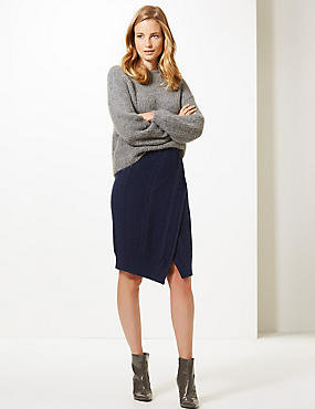 Cable Knit Wrap Over Midi Skirt