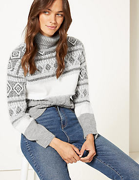 Jacquard Print Roll Neck Jumper