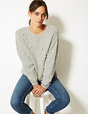 Pearl Embellished Round Neck Jumper