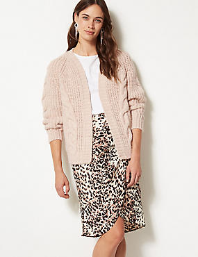Cable Knit Open Front Cardigan, OATMEAL, catlanding