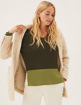 Pure Merino Wool Colour Block V-Neck Jumper