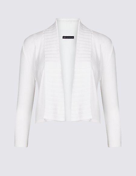 Open Front 3/4 Sleeve Cardigan