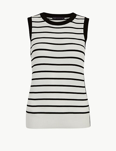 Striped Round Neck Knitted Top