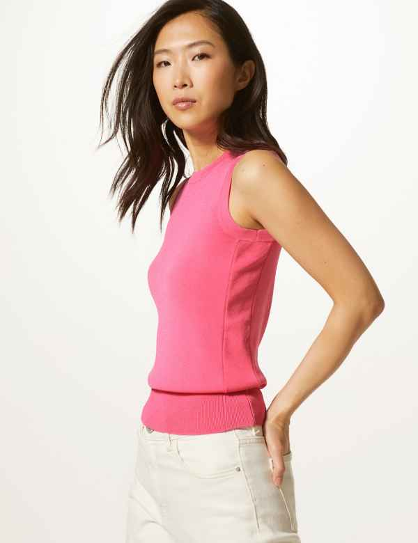 925e49d4d3f1b7 Round Neck Sleeveless Knitted Top