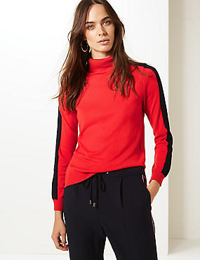 Colour Block Roll Neck Jumper, RED MIX, catlanding
