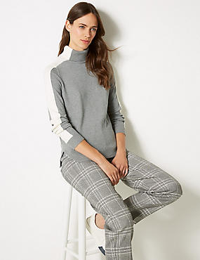 Colour Block Roll Neck Jumper, GREY MIX, catlanding