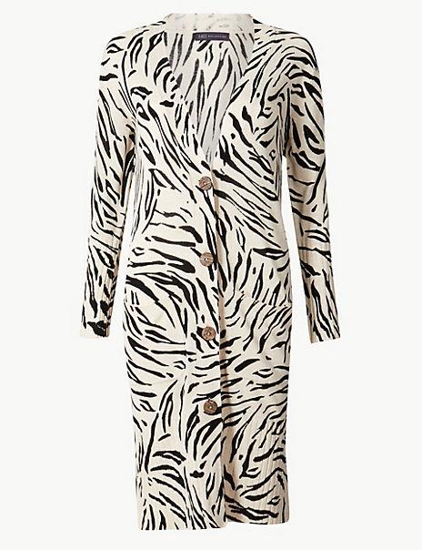 Linen Blend Animal Print Longline Cardigan