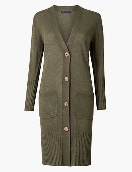Linen Blend Longline Cardigan