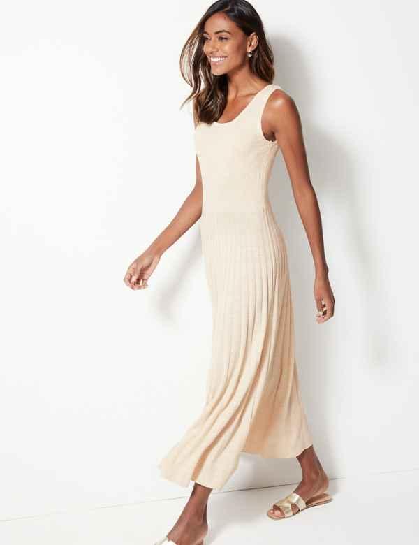 6ece814c8f5 Linen Blend Round Neck Knitted Dresses