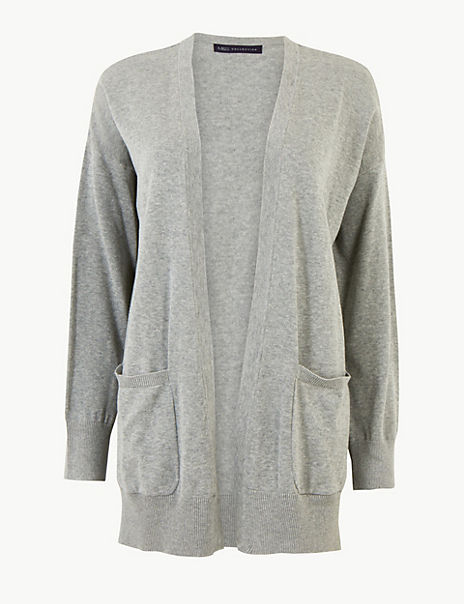 Pure Cotton Open Front Cardigan
