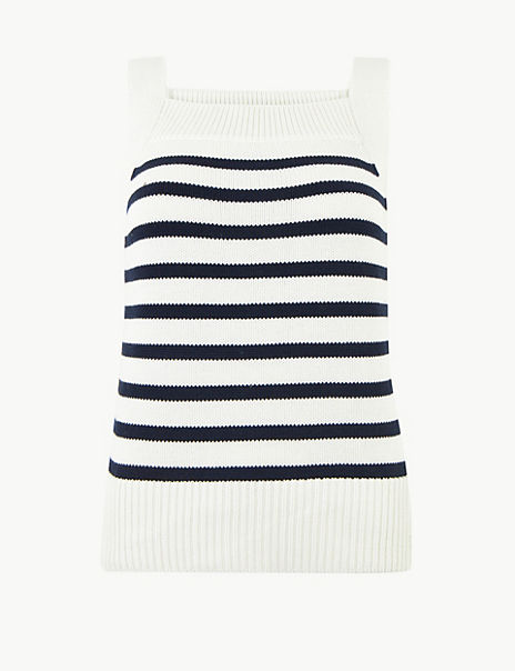 Pure Cotton Striped Knitted Vest