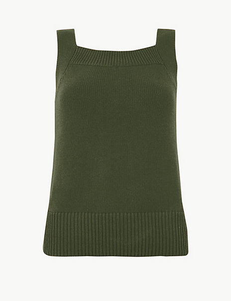 Pure Cotton Square Neck Knitted Vest Top