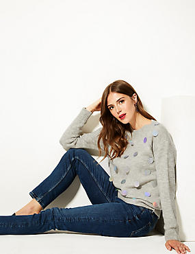 Embellished Large Sequin Long Sleeve Jumper