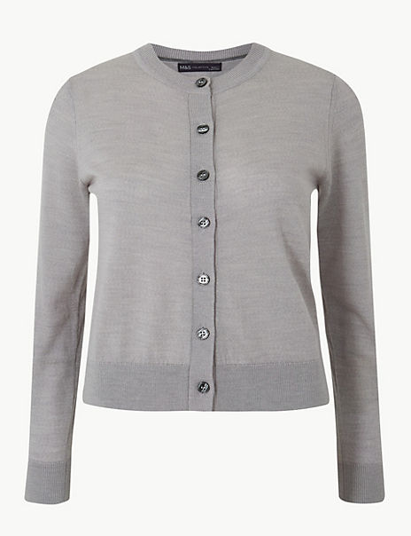 Pure Merino Wool Textured Cardigan
