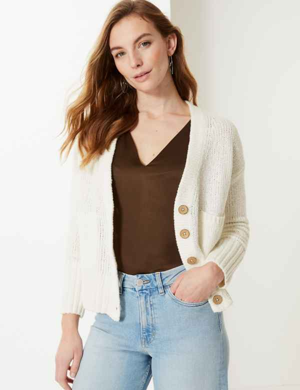 7f590a639a7 PETITE Textured V-Neck Cardigan