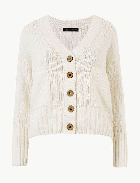 PETITE Textured V-Neck Cardigan