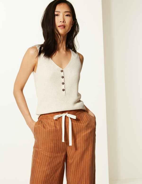 10337940164f Linen Blend Textured V-Neck Knitted Tops