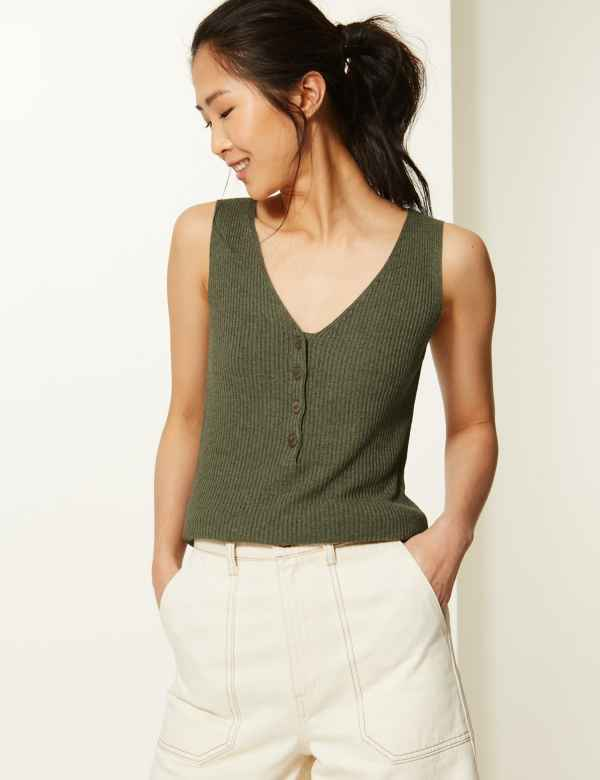 149fe5d487537 Linen Blend Textured V-Neck Knitted Tops