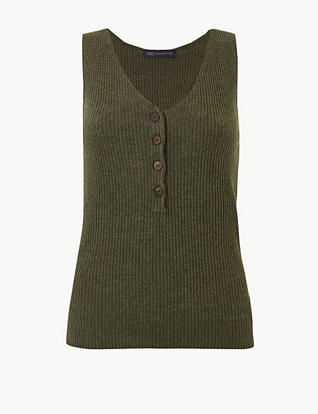 Linen Blend Textured V-Neck Knitted Tops