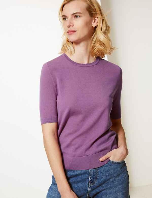 88da12b1709 Pure Merino Wool Round Neck Knitted Top