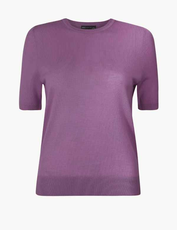 Women's Clothing Jumpers & Cardigans Good Marks And Spencer Size 10 Purple Crew Jumper Sweater