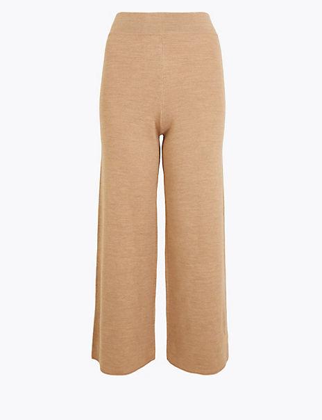 Wool Blend Wide Leg Culottes