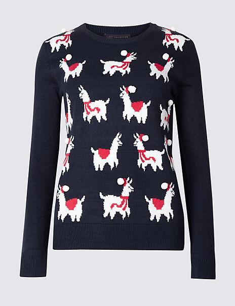 Llamas Round Neck Christmas Jumper