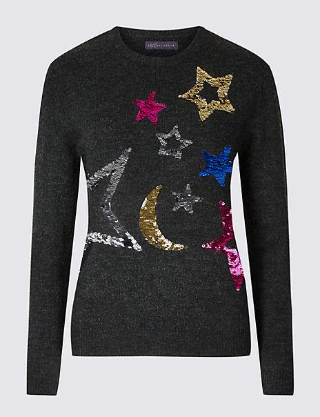 Embellished Stars Christmas Jumper