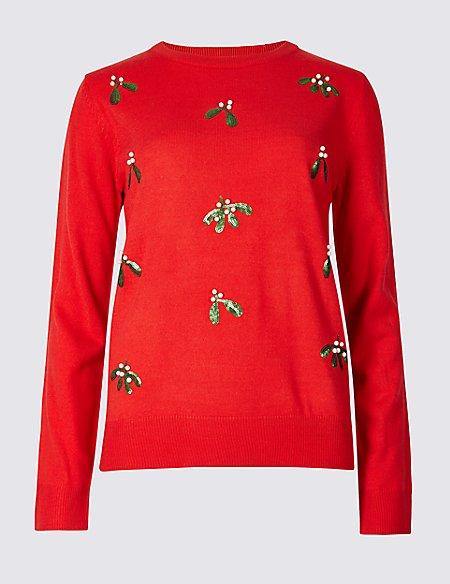 Embellished Mistletoe Christmas Jumper Ms Collection Ms