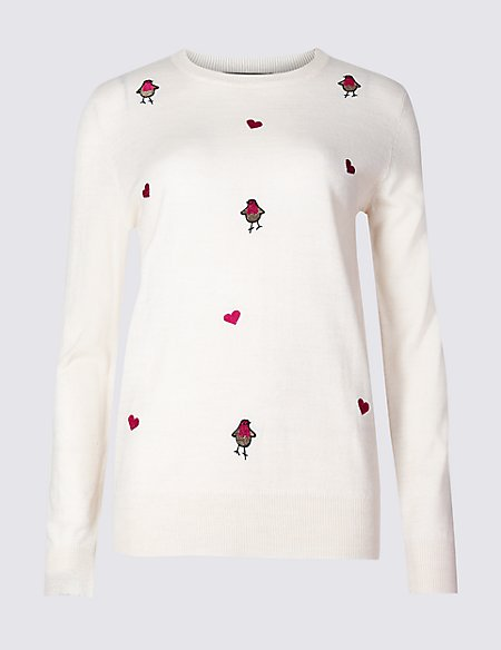 Embroidered Robins Christmas Jumper