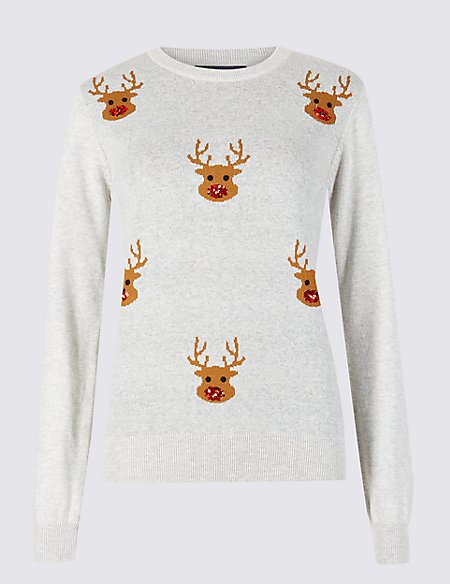 Embellished Reindeer Christmas Jumper