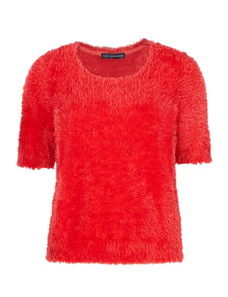 Round Neck Fluffy Knitted T-Shirt