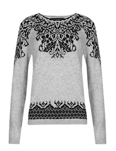 Baroque Print Jumper with Wool