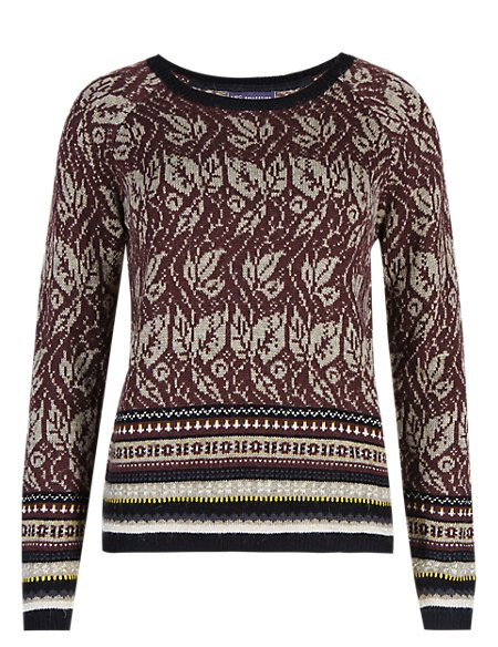 Floral Jacquard Jumper with Wool