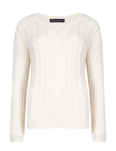 Oversized Cable Knit Curved Hem Jumper with Wool