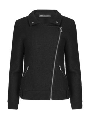 Wool Rich Knitted Biker Jacket | M&S Collection