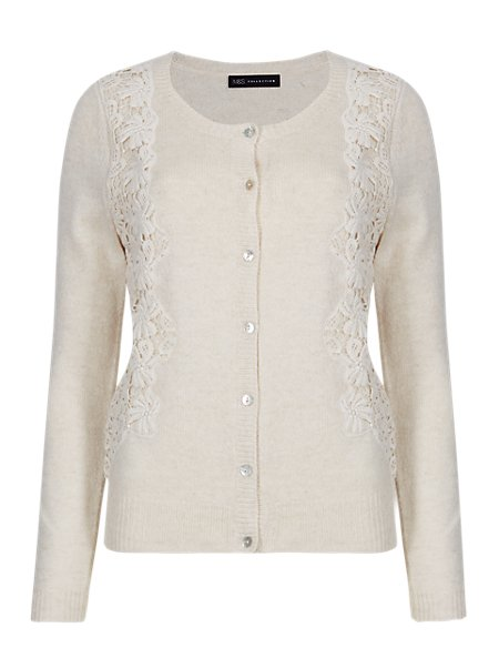 Button Up Lace Side Panel Cardigan with Wool