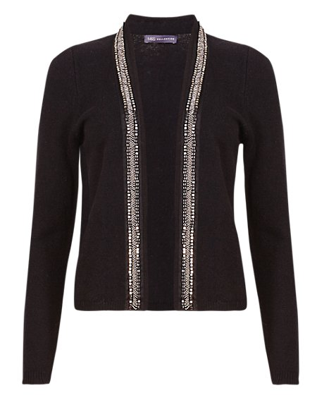 Open Front Embellished Cardigan with Wool