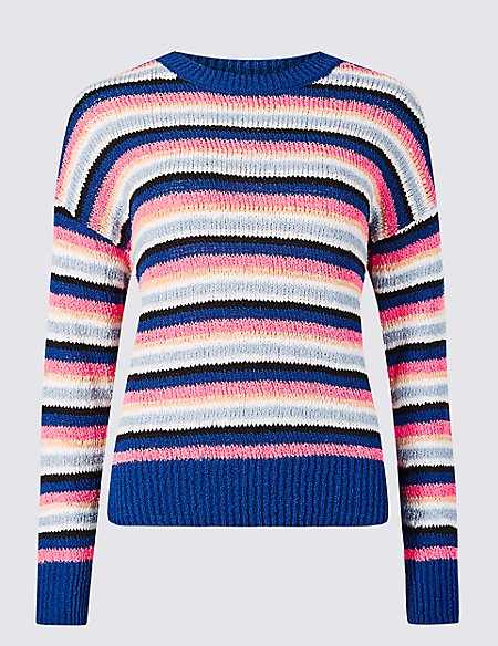 Striped Round Neck Recycled Yarn Jumper