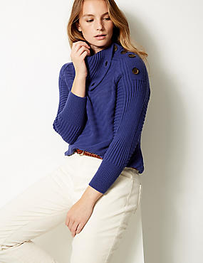 Ribbed Split Neck Jumper