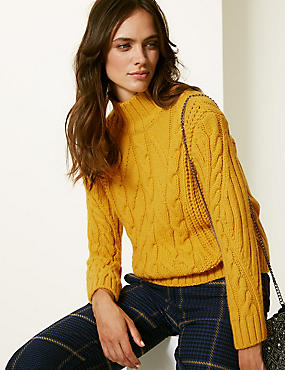 Cable Knit Funnel Neck Jumper  , OCHRE, catlanding