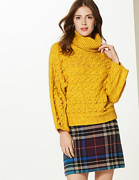 Cable Knit Roll Neck Jumper, OCHRE, catlanding