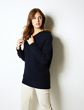 Hooded Cable Knit Jumper, NAVY, catlanding