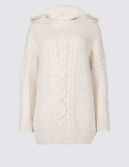 Hooded Cable Knit Jumper