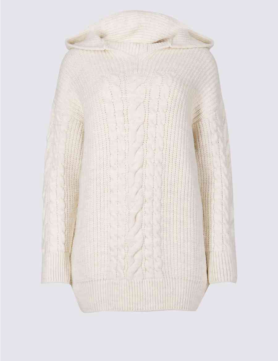 6ab95a38b27 Hooded Cable Knit Jumper