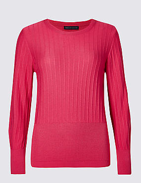 Ribbed Detail Round Neck Jumper