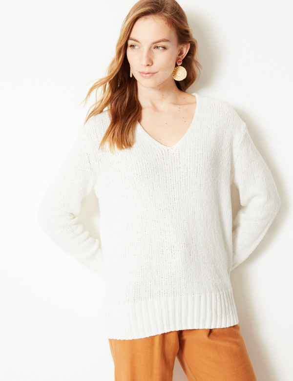 Textured V-Neck Jumper 8c77b3200